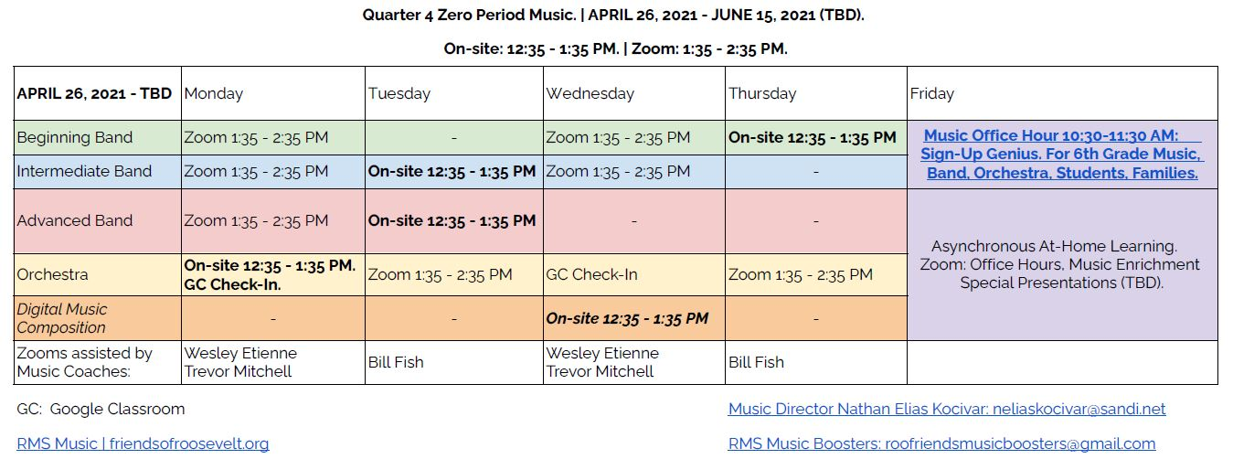 Q4 Zero Period Music Schedule April 26 June 15 2021 TBD